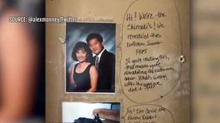 Couple finds message from 1995 inside wall - Video
