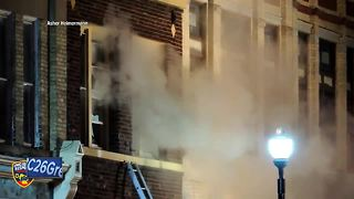 Fire guts apartment building in Plymouth - Video