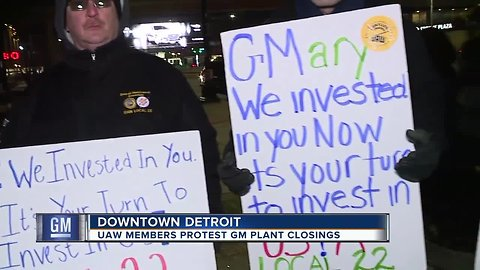 UAW members protest GM plant closings
