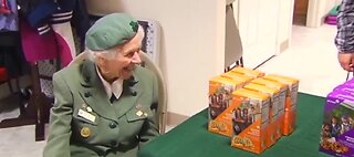 98-year-old Girl Scout selling cookies