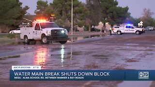 Chandler water break causes flooding and closures near Alma School and Knox roads