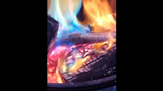 Relaxing rainbow colored campfire