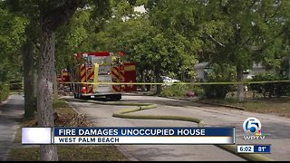 Fire damages unoccupied home in West Palm Beach.