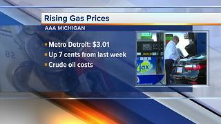Metro Detroit gas prices on the rise again, 60 cents higher than last year