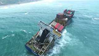 Drone Films Cargo Ship Wrecked off the Coast of Taiwan - Video