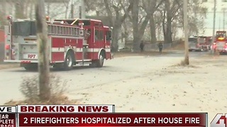 At least 3 firefighters injured after being trapped in KCMO house fire - Video