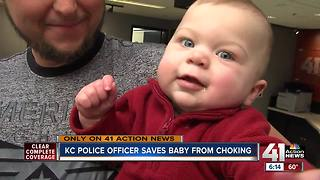 KC police officer saves baby from choking - Video