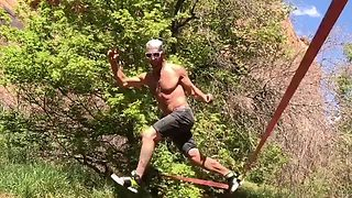 Watch: Silky slackline dancer shows off skills - Video