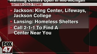 Warming centers open in Mid-Michigan - Video