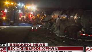 One dead in truck rollover on southbound Highway 99 - Video