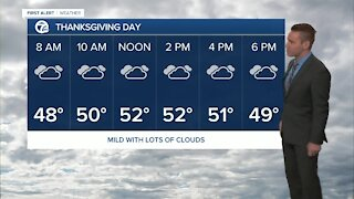 Cloudy & wet weather ahead of Thanksgiving with temps in the 40s