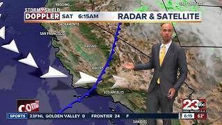 A cold front is moving through! This is going to knock our temps down in the 80's.