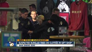 Police arrested suspected burglar who tried on clothes at San Diego Zoo gift shop - Video