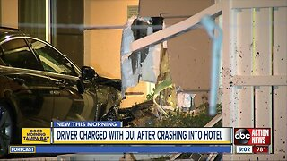 Man arrested, charged with DUI after crashing into Tampa hotel