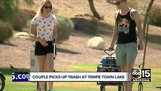 Valley couple cleans up trash around Tempe Town Lake