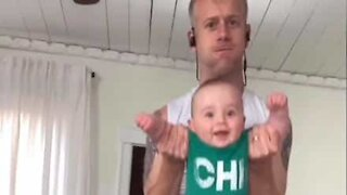 Dad invents new home baby workout