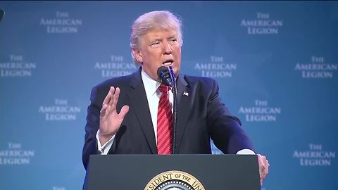 President Donald Trump speaks to the American Legion Convention in Reno, Nevada