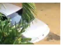 Car Flooded in Surigao City Following Tropical Storm Sanba - Video