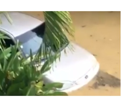 Car Flooded in Surigao City Following Tropical Storm Sanba
