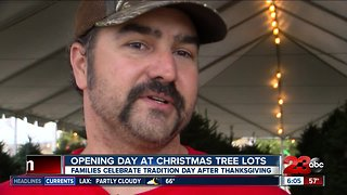 Families full of holiday spirit picking out Christmas trees today