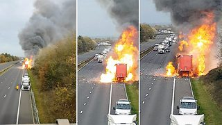 Lorry filled with aerosols sparks massive motorway blaze - Video