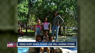 Teens hurt when power line fell during storm - Video