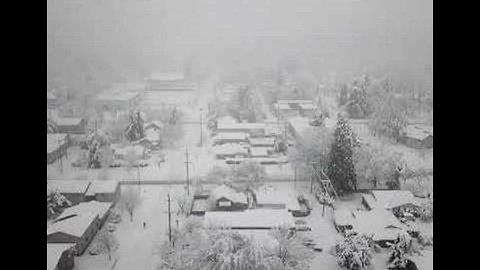 Springfield, Oregon, Blanketed in Snow, Captured From the Air