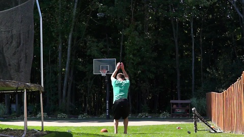 'Frontflip to backflip' basketball trick shot