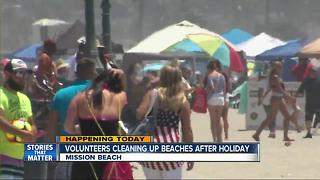 Volunteers clean up beaches after 4th of July - Video