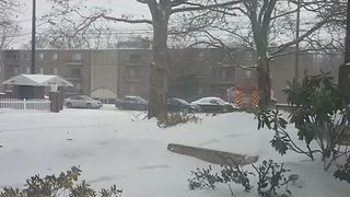Fire Engine Gets Stuck During Ohio Lake-Effect Snowstorm - Video