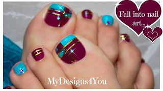 Beautiful block toenail art tutorial - Video