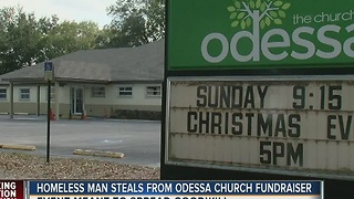 Homeless man steals from Odessa church fundraiser - Video