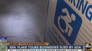 Senator Flake tours businesses sued by ADA - Video