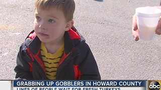 Families line up for fresh turkey at Maple Lawn Farms in Howard County - Video