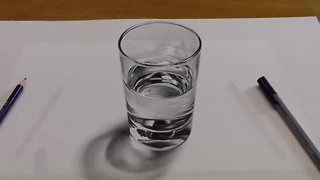 How to Draw a glass of water - 3D painting anamorphic illusion - Video