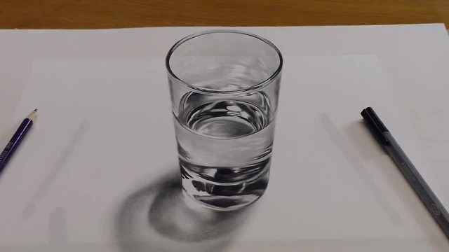 How to Draw a glass of water - 3D painting anamorphic illusion ...