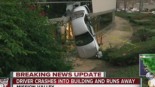 Driver crashes into building in Mission Valley and runs away - Video