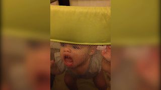 Baby Tries To Bite Her Way Out