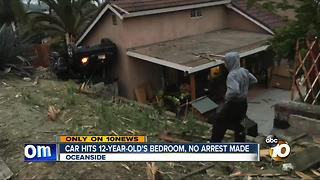 Car hits 12-year-old's bedroom, no arrest made - Video