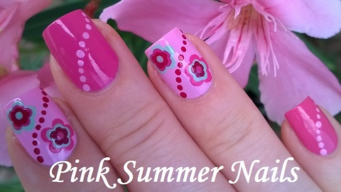 Simply Pink Floral Nails