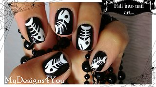 How to fish bones nail art for Halloween - Video