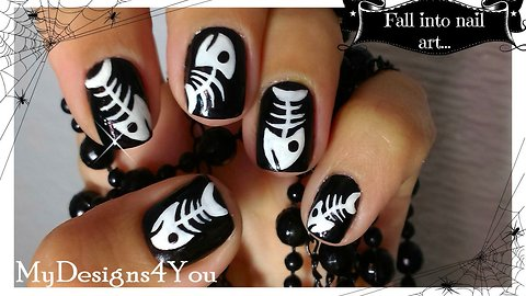 How to fish bones nail art for Halloween