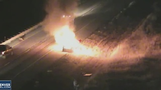 Fiery I-25 crash blamed on deer - Video