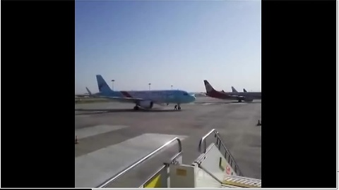 Airbus A320 Left Moving Handbrake Off On The Tarmac