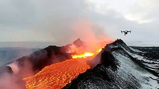 Lake Of Fire: Drone Footage Of Icelandic Lava River - Video