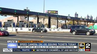 Speed camera on I-95 to issue speed tickets beginning Monday