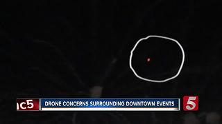Drone Spotted Dangerously Close To Downtown Fireworks - Video