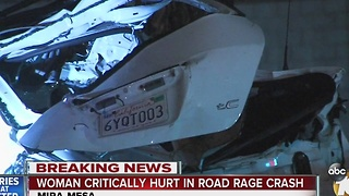 Woman critically injured in road rage crash