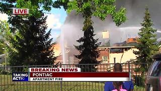 Massive fire rips through senior apartment complex in Pontiac - Video