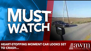 Heart-stopping moment car looks set to crash...but misses - Video